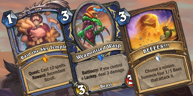 Three New Cards Revealed - Mage Quest (Raid the Sky Temple), Weaponized Wasp, BEEEES!!!