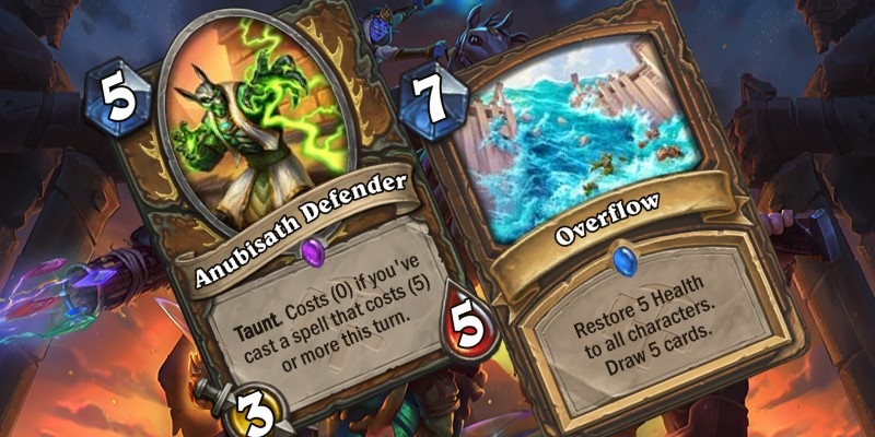 Two Uldum Druid Card Reveals - Anubisath Defender & Overflow