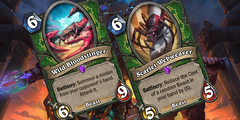Uldum Hunter Card Reveals - Wild Bloodstinger & Scarlet Webweaver