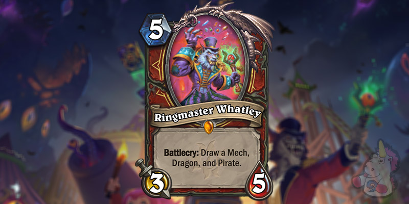 Two New Warrior Cards Revealed for Hearthstone's Darkmoon Faire Expansion - Ringmaster Whatley & Ringmaster's Baton
