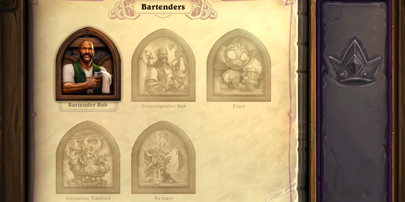 First Look at Hearthstone's Battlegrounds New Interface for Cosmetic Heroes and Bartenders