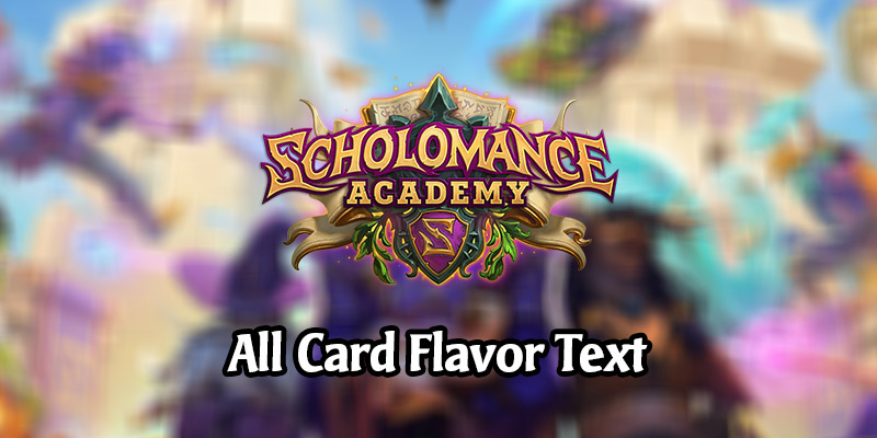 All Card Flavor Text for the Scholomance Academy Hearthstone Expansion