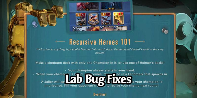 Runeterra's New Lab, Recursive Heroes 101, Receives Bug Fixes