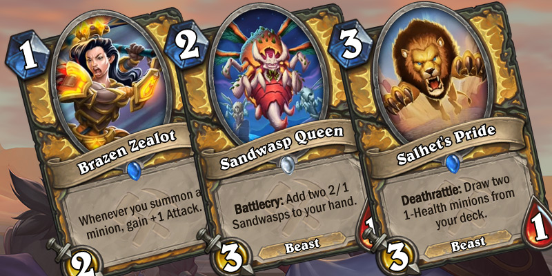 Three Uldum Paladin Cards Revealed - Brazen Zealot, Sandwasp Queen, Salhet's Pride