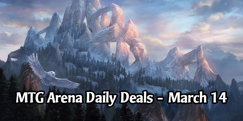 Daily Store Deals in MTG Arena for March 14, 2020 - 33% Off Snow-Covered Mountain Secret Lair Sleeve