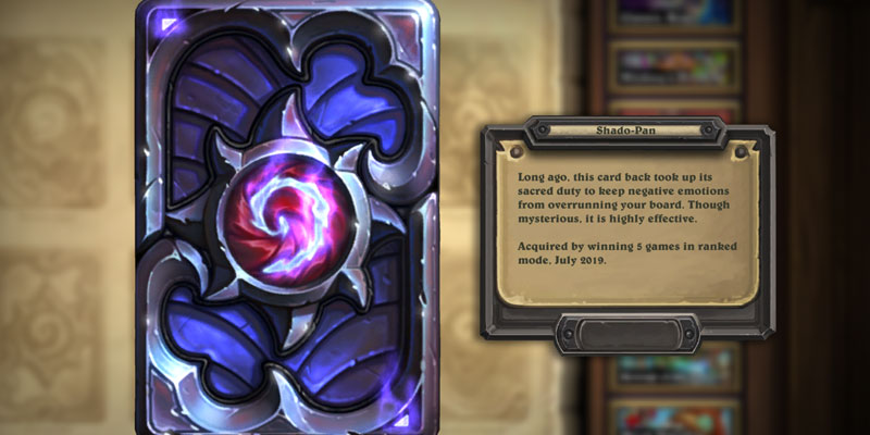 Its July! New Hearthstone Season, New Shado-Pan Card Back