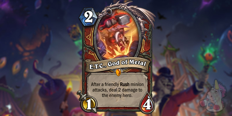 E.T.C., God of Metal is a New Warrior Card Revealed for Hearthstone's Darkmoon Faire Expansion