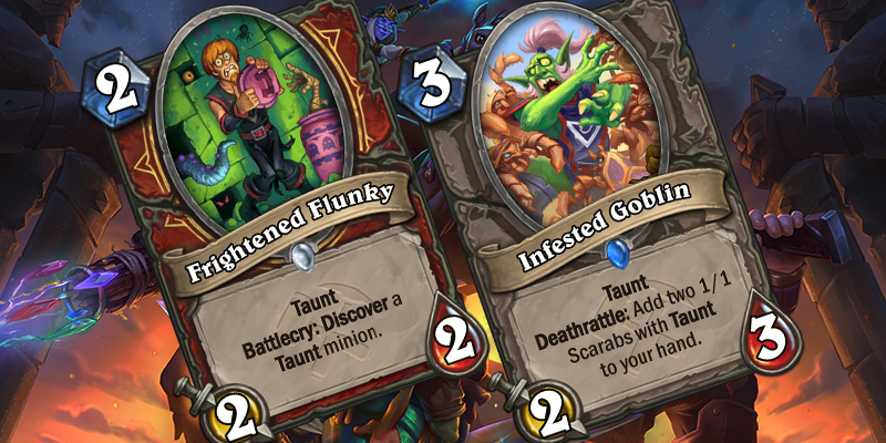 Two Uldum Card Reveals - Frightened Flunky & Infested Goblin
