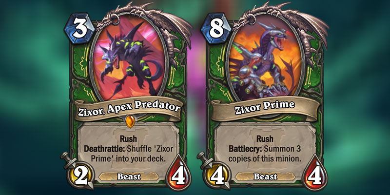 Zixor, Apex Predator is a new Hunter Legendary Revealed for Hearthstone's Ashes of Outland Expansion